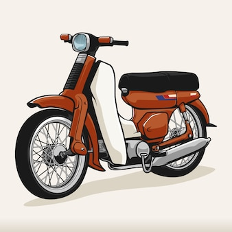Красный классический винтажный утиный мотоцикл