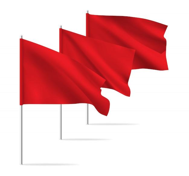 赤いきれいな水平手を振るテンプレートフラグ。