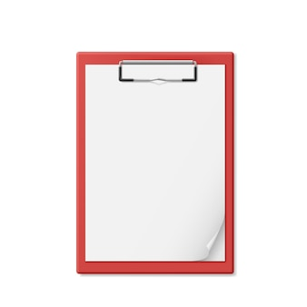 Red clipboard with a few sheets of paper. Premium Vector