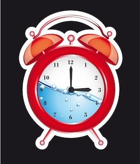 Red clock alarm isolated