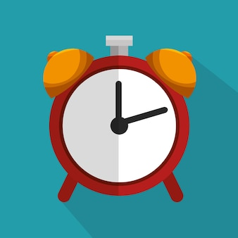 Red clock time school icon blue background