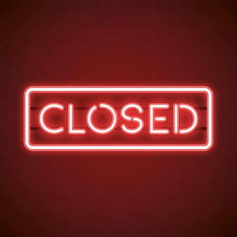 Red closed neon sign vector