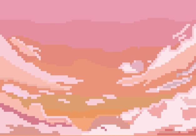 Вид красных облаков в стиле пиксель-арт