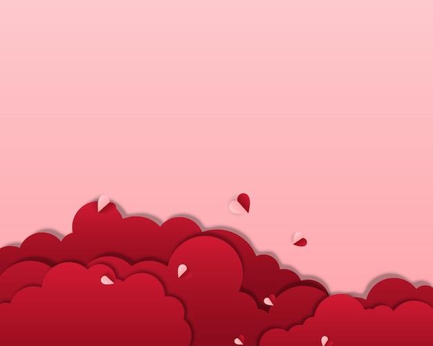 ピンクの背景に空飛ぶハートと赤い雲