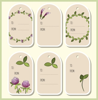 Red clover flowers and leaves gift tags