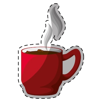 Red coffee cuppa with steam design