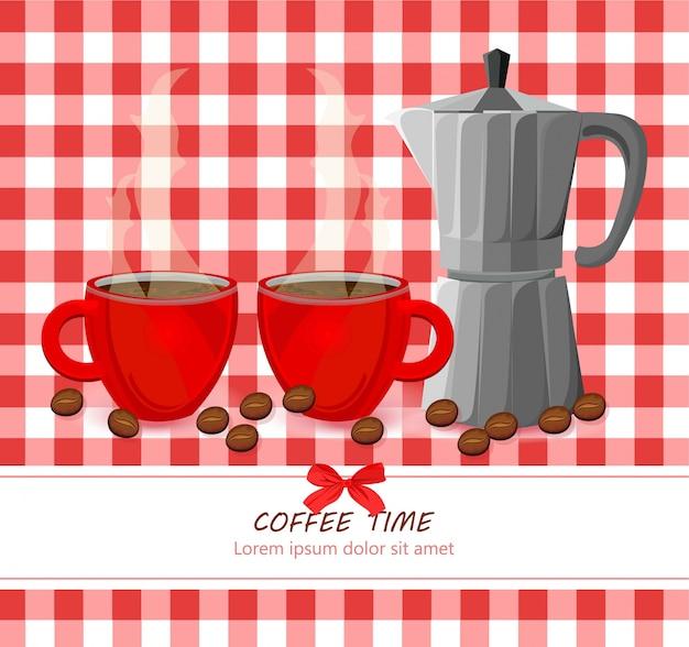 ギンガムパターンのレッドコーヒーカップベクトル
