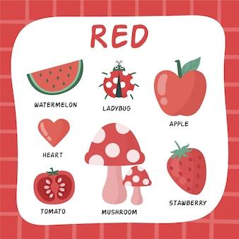 Красный цвет и набор слов на английском языке