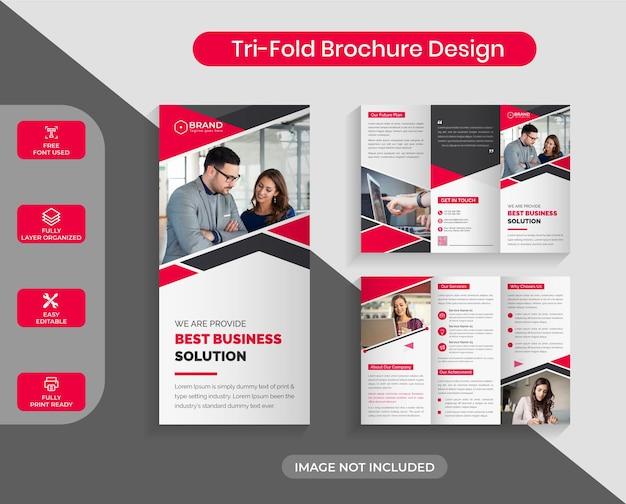 레드 컬러 기업 비즈니스 trifold 브로셔 디자인