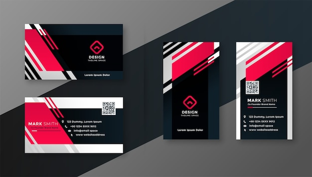Red color geometric business card design template