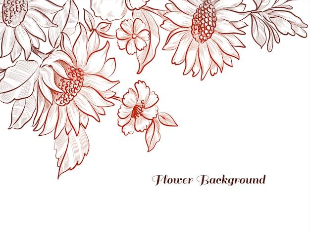 붉은 색 손으로 그린 스케치 꽃 디자인 배경