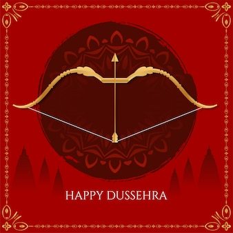 Red color happy dussehra indian festival background vector