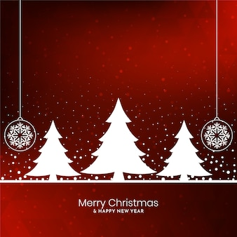 Red color merry christmas festival background with tree