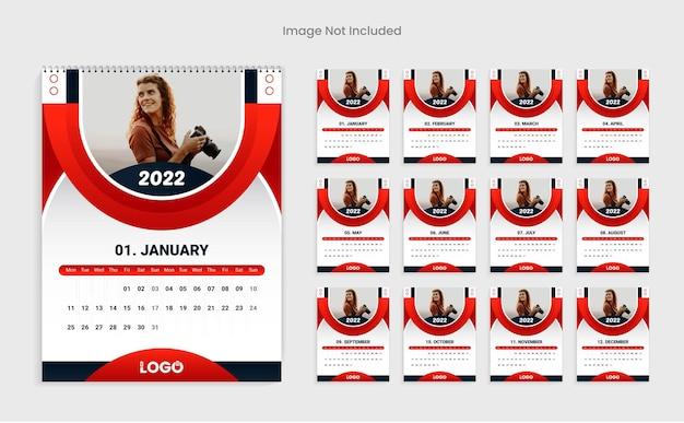 赤い色のモダンな2022年新年カレンダーデザインテンプレート