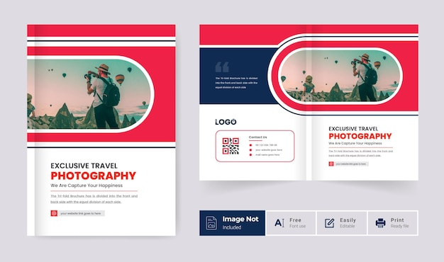Red color modern bi fold brochure cover page design template abstract creative pages layout