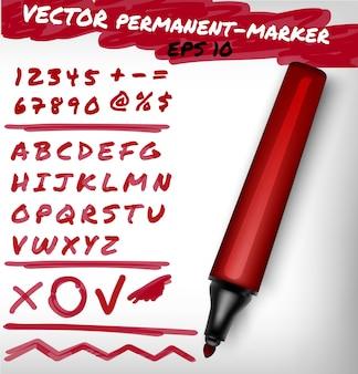 빨간색 오픈 영구 마커 펜, 필기 숫자 세트, 숫자, 그림 및 알파벳 확인 표시, 더하기, 선. 펠트 펜 그림