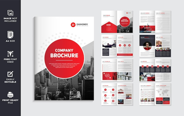 Red color shape company brochure template layout or multipage brochure design