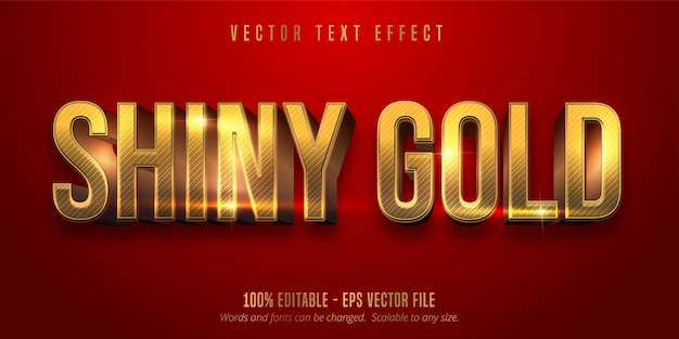 Red color and shiny gold style editable text effect
