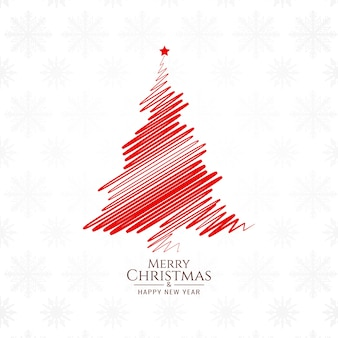 Red color sketch tree for merry christmas background design
