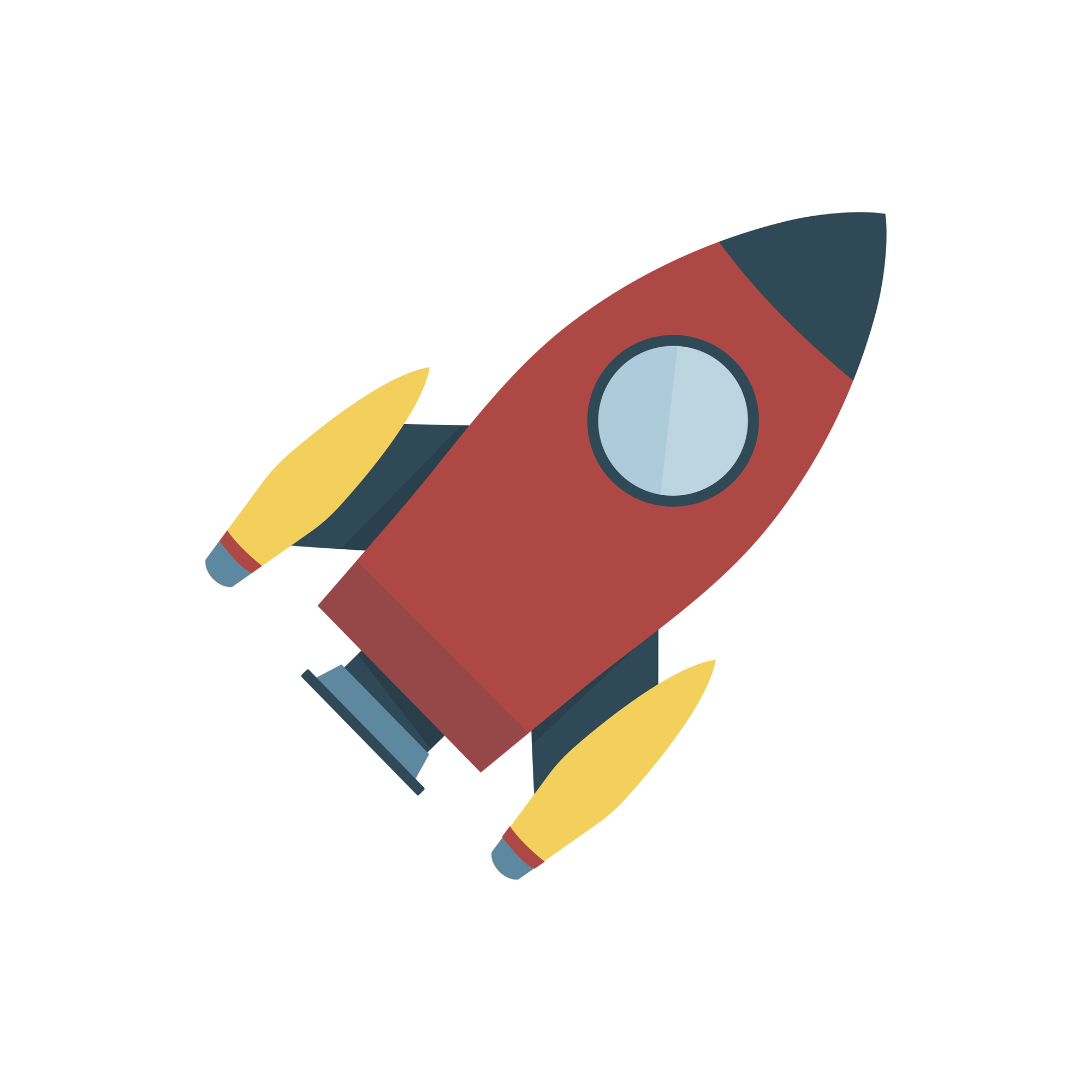 Red color space rocket isolated graphic illustration