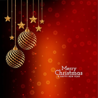 Red color stylish merry christmas festival background
