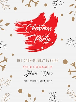 Red color theme christmas party flyer ad banner