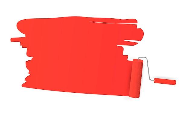헤더, 배너 및 광고에 대한 흰색 배경에 롤러 브러시의 붉은 색 흔적. 벡터 일러스트 레이 션