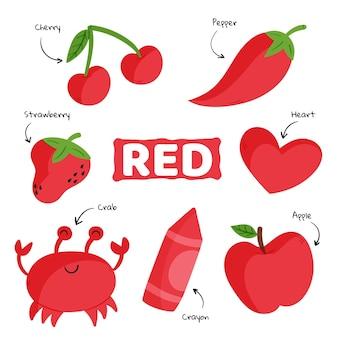 英語で設定された語彙と赤い色