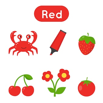 Red color worksheet. learning basic colors for preschoolers. circle all red objects. handwriting practice for kids.
