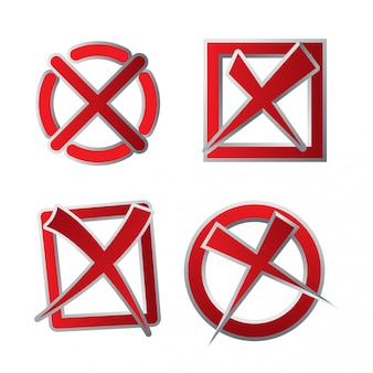 Red colored declined check box icon set