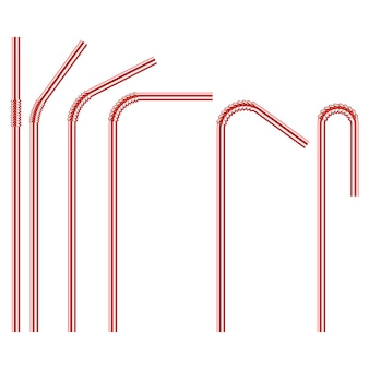 Red colored disposable plastic drinking straw