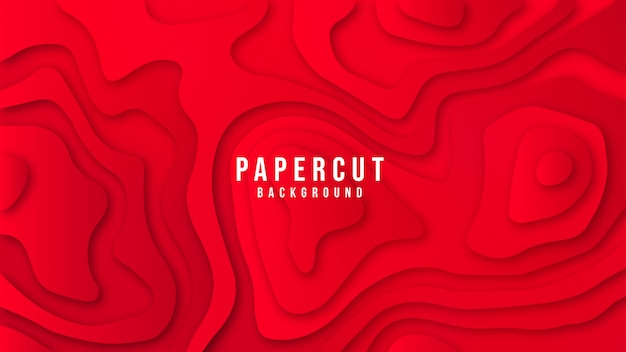Red colourful abstract stylish paper cut background design