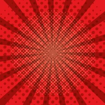 赤い漫画のポップアートhlaftone太陽のデザイン
