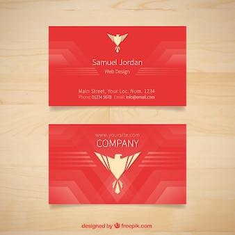 ワシのシンボルとレッドの会社カード