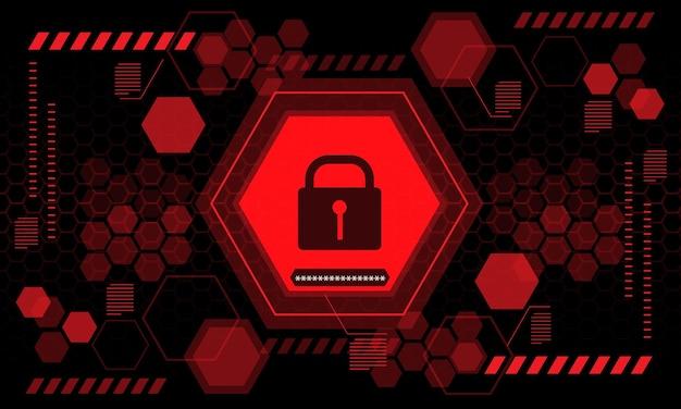 赤いコンピューターのセキュリティ表示画面六角形の幾何学的な黒い未来技術ベクトルの背景