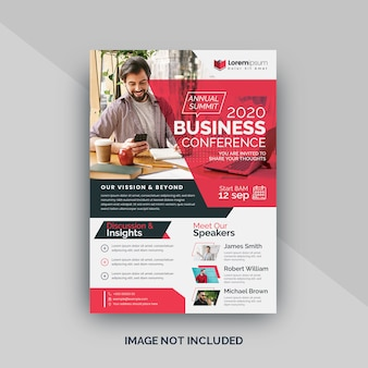 Red conference flyer template