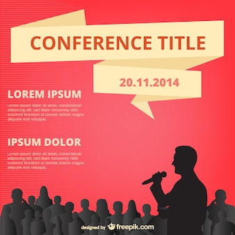 Red conference poster with people silhouettes