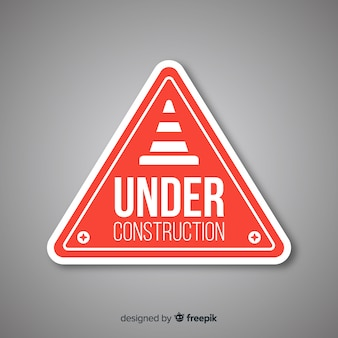 Red under construction flat sign
