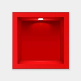 유리 및 조명 템플릿이 있는 빨간색 컨테이너입니다. 실내 빈