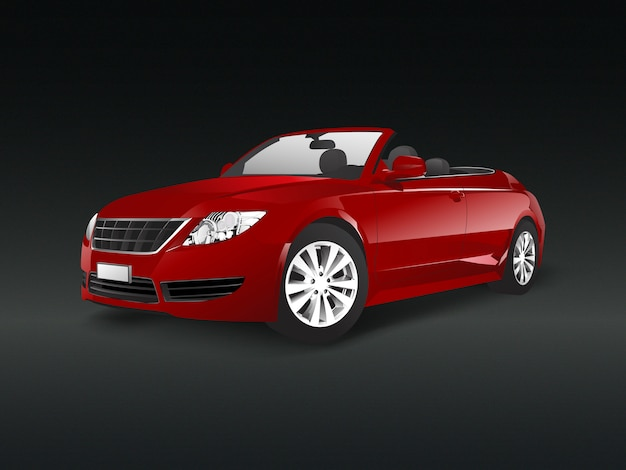 Red convertible car in a black background vector