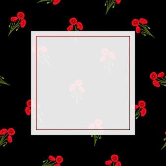 Red corn poppy banner on black background
