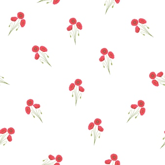 Red corn poppy seamless on white background