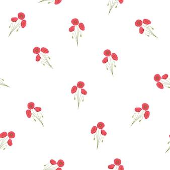 Red corn poppy seamless on white background