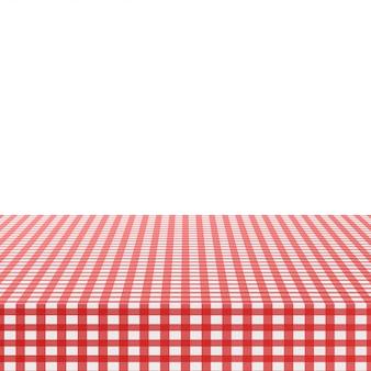 白地に赤いコーナーテーブルクロス