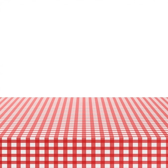 Red corner tablecloth on white