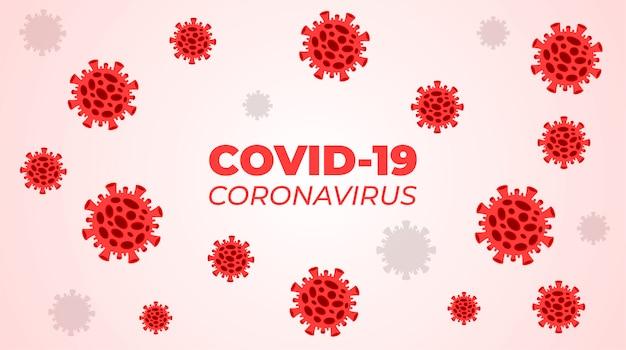 Red corona virus cells on white background