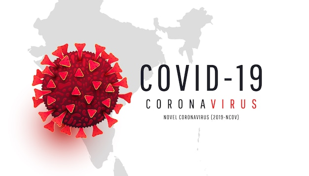 Red coronavirus cell on a world india map background. epidemic, pandemic, medicine, virus vaccine.