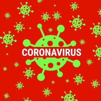 Red coronavirus warning poster with covid 19 icon
