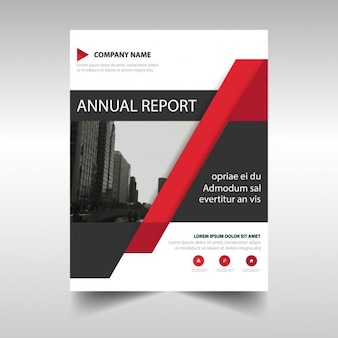 Red corporate brochure with geometric shapes