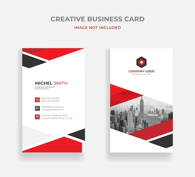 Red corporate business card design template premium vector
